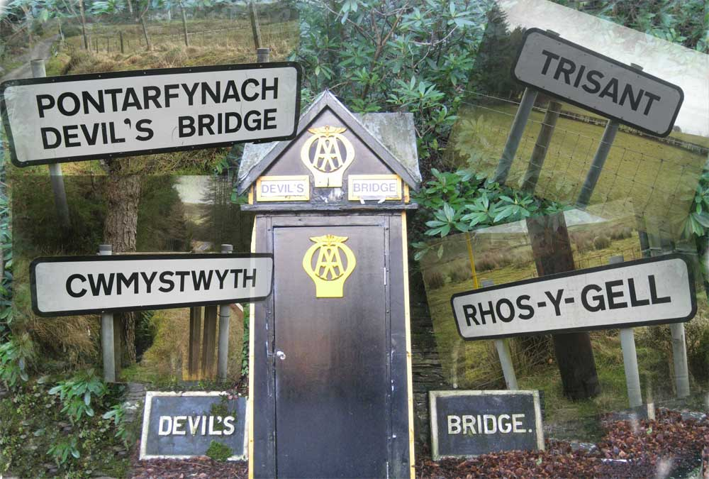 AA Box in Devils Bridge with village place name signs